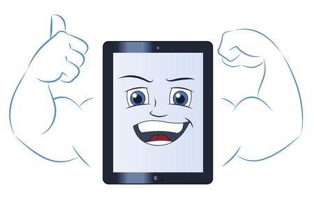Illustration of the smiling powerful strong tablet computer