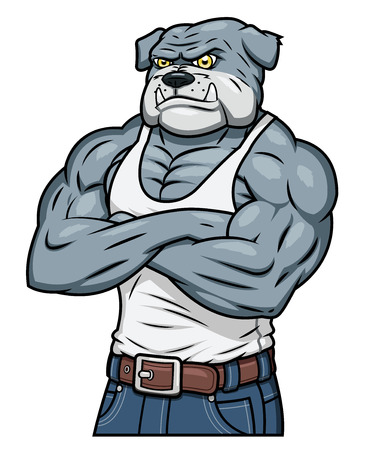 Illustration of the strong muscle aggressive bulldog standing Illustration