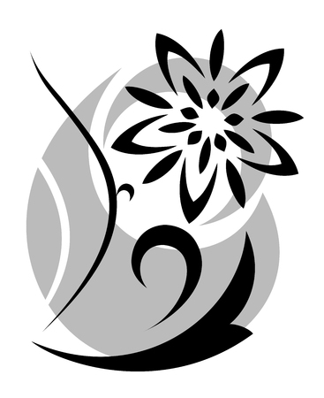 composition art: Illustration of the abstract fantasy flowers black silhouette on white background Illustration