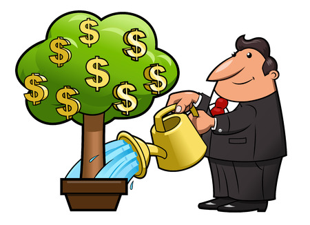 Illustration of the businessman watering the money tree to keep its growth