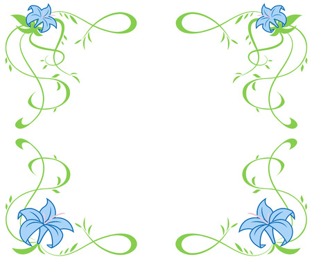 summer border: Illustration of the frame with beautiful blue lily flowers on white background Illustration