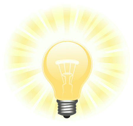 glowing light bulb: Illustration of the glowing light bulb on white background