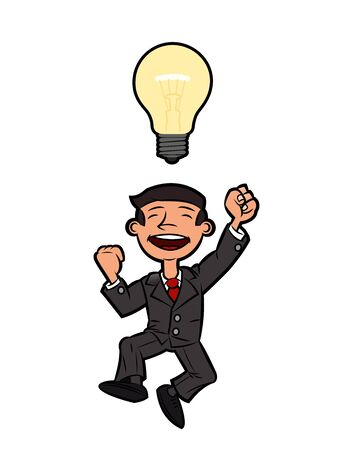happy businessman: Illustration of the successful happy businessman jumping up for joy because of the great idea