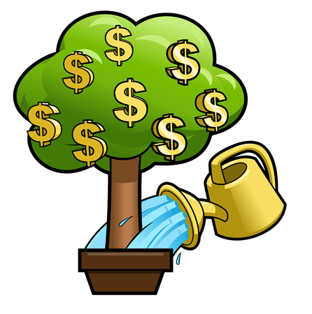 commercial tree care: Illustration of the money tree and yellow watering can Illustration