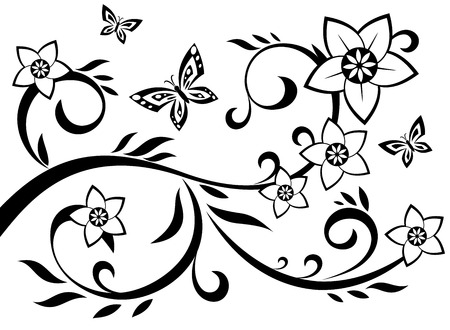 floral ornaments: Illustration of the abstract flowers black silhouette on white background