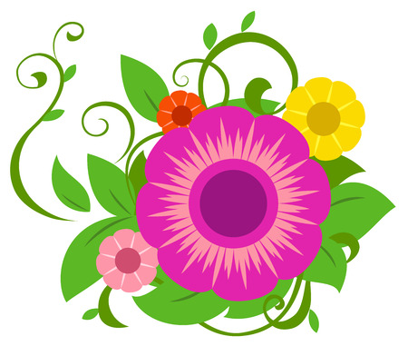 Illustration of the abstract flowers on white background