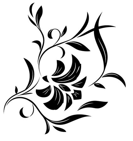flowers silhouette: Illustration of the abstract flowers black silhouette on white background