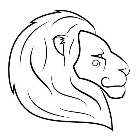 domination: Illustration of the lion head on white background