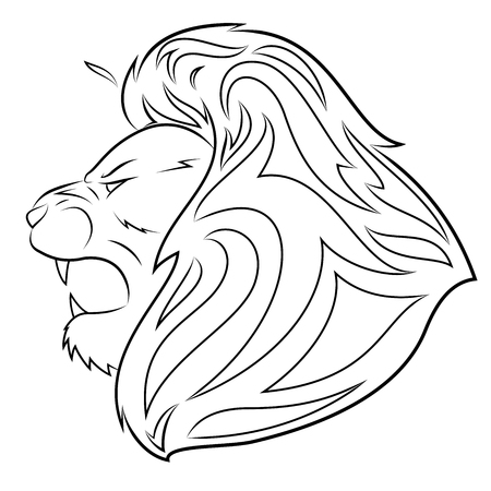 Illustration of the lion head on white background