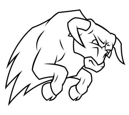 angry bull: Illustration of the angry bull attacking on white background