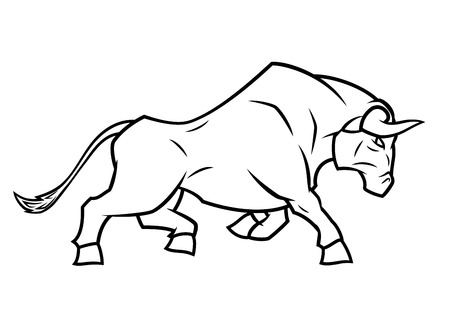 corrida: Illustration of the angry bull running on white background
