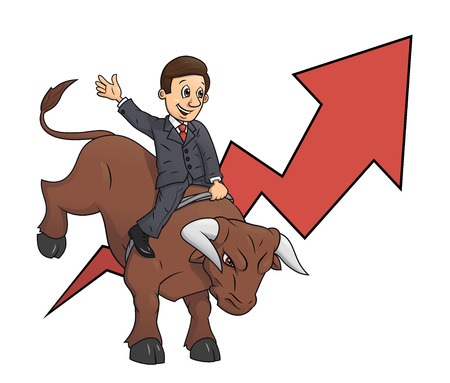 confidence: Illustration of the confident businessman riding big angry bull symbolizing success and risk in  business