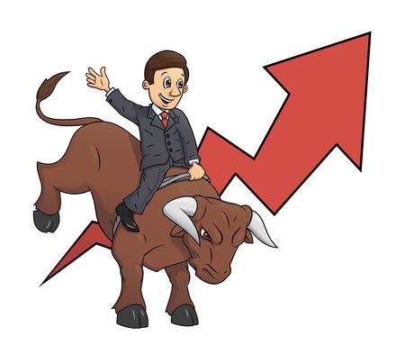 confianza: Ilustraci�n del hombre de negocios confidente que monta gran �xito enojado toro que simboliza y el riesgo en los negocios