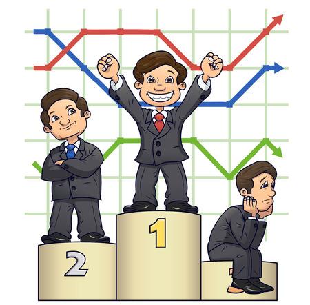 competencia: Ilustración de los hombres de negocios de pie en el pedestal después de la competencia en el fondo blanco Vectores
