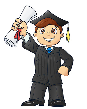 academic robe: Illustration of the happy graduation student holding his diploma