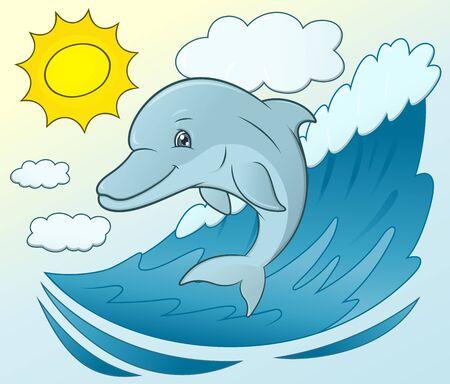 delfin: Ilustracja przyjazny uśmiech ładny delfin wyskakując z falą morską