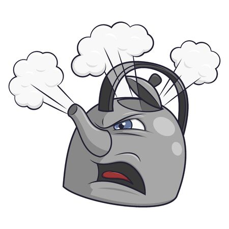 Illustration of the angry tea kettle on white background Illustration