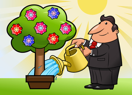 plant stand: Illustration of the man watering the flower tree