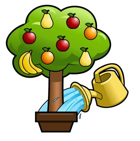 green apple: Illustration of the can watering the magic fruit tree