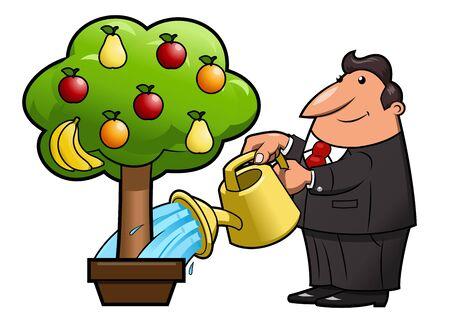 fruit tree: Illustration of the man watering the magic fruit tree