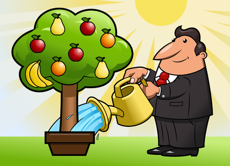 green apple isolated: Illustration of the man watering the magic fruit tree
