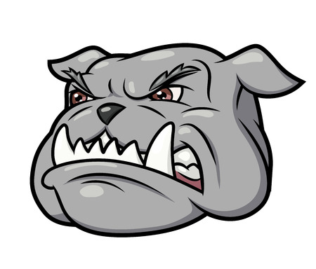 beware of the dog: Illustration of the furious aggressive bulldog head