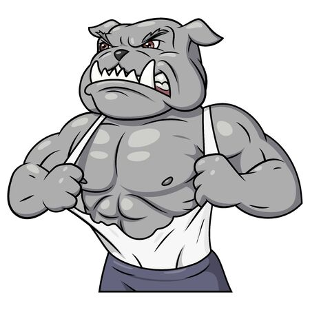 hoodlum: Illustration of the strong muscle aggressive bulldog tearing his shirt