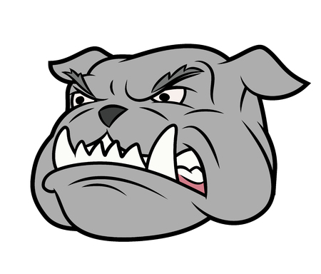 beware dog: Illustration of the furious aggressive bulldog head