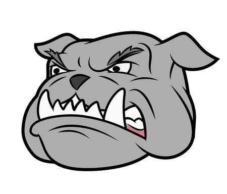 bad dog: Illustration of the furious aggressive bulldog head