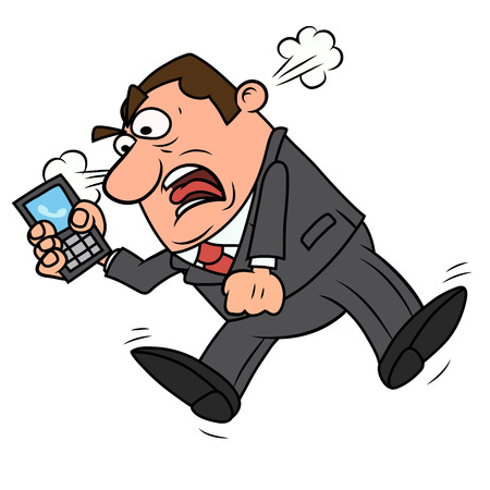 angry businessman: Illustration of the angry businessman screaming on cell phone