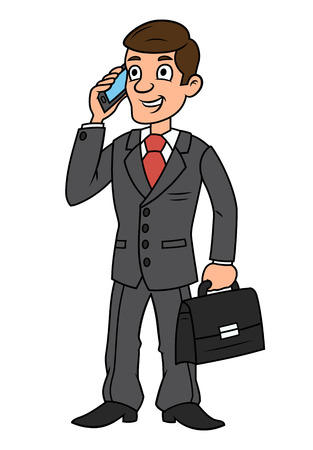 talking cartoon: Illustration of the successful smiling businessman talking on cell phone holding briefcase