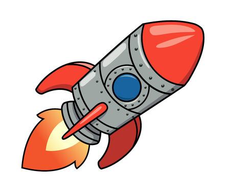 cartoon rocket: Illustration of the cartoon spaceship on white background Illustration