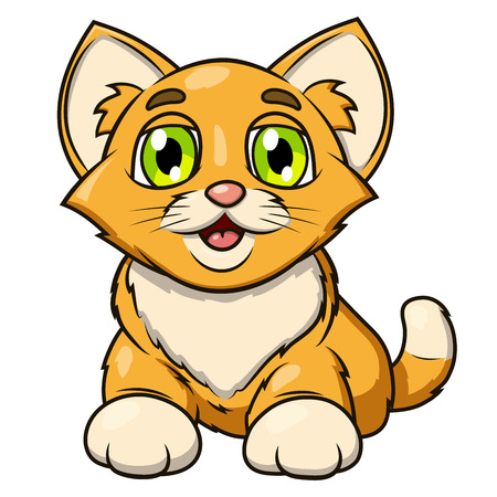 art painting: Illustration of the smiling happy cute little kitten