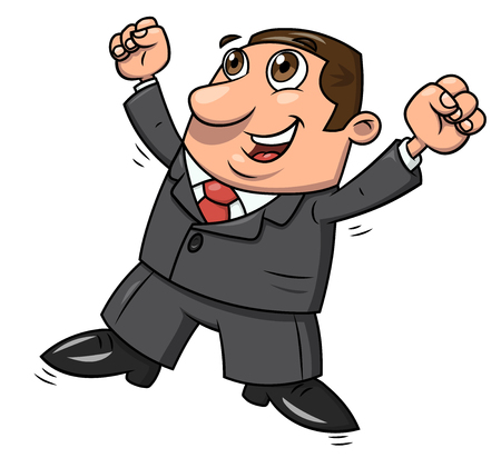 Illustration of the successful happy businessman jumping up for joy