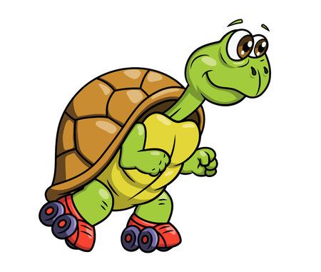 schildkroete: Illustration des lächelnden lustige Schildkröte auf Rollschuhen Illustration