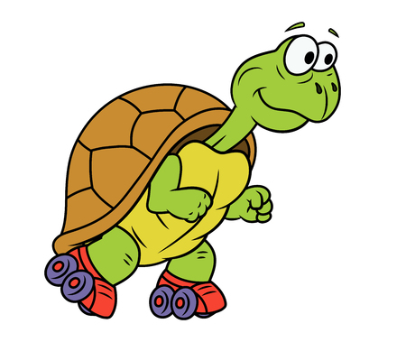 animal mascot: Illustration of the smiling funny turtle on roller skates