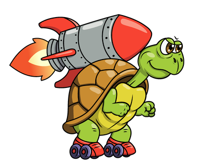 Illustration of the funny turtle on roller skates with rocket on its back Çizim