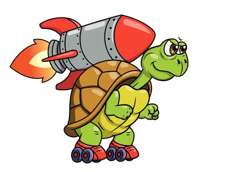 tortuga caricatura: Ilustración de la tortuga divertida en patines con el cohete en su espalda