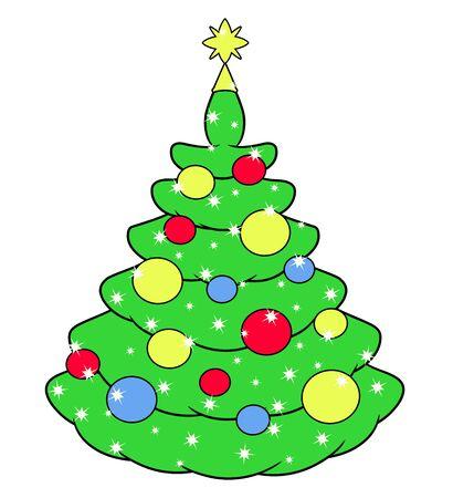 christmas tree illustration: Illustration of the cute beautiful Christmas tree on white background