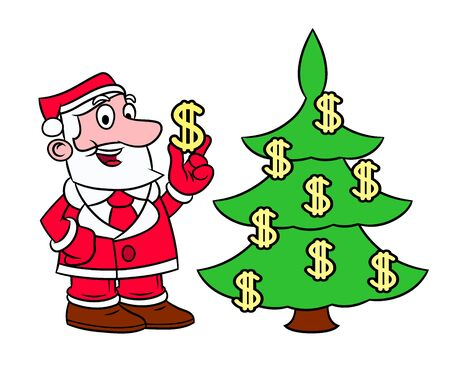 profit celebration: Illustration of the Santa Claus decorating Christmas tree with dollar signs on white background