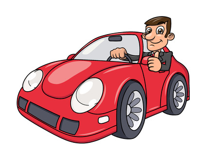 Illustration of the successful businessman driving a modern red car and showing thumb up Çizim