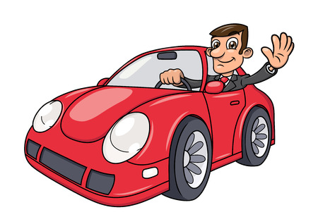 Illustration of the successful businessman driving a modern red car and waving hand