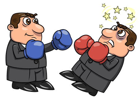 competitor: Illustration of the businessmen with boxing gloves punching competitor