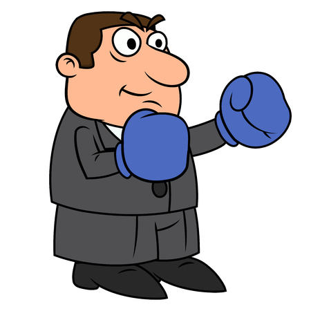 Illustration of the businessman with boxing gloves on white background