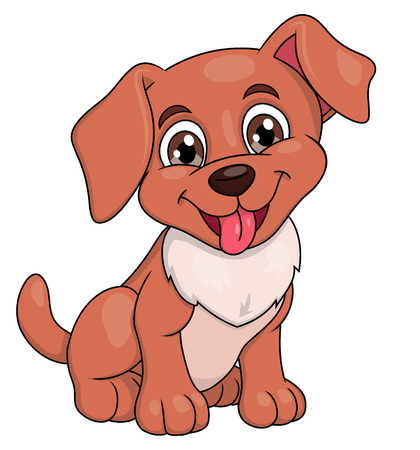 whelp: Illustration of the smiling happy cute little puppy