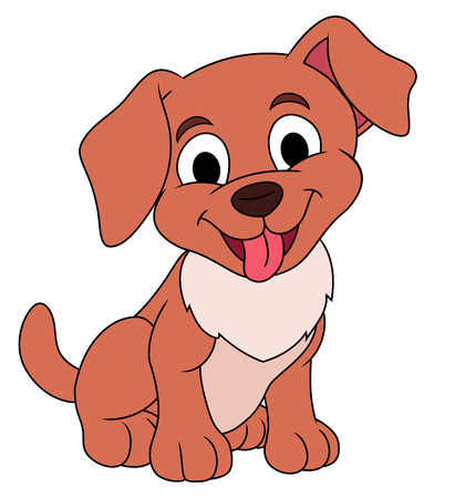 Illustration of the smiling happy cute little puppy