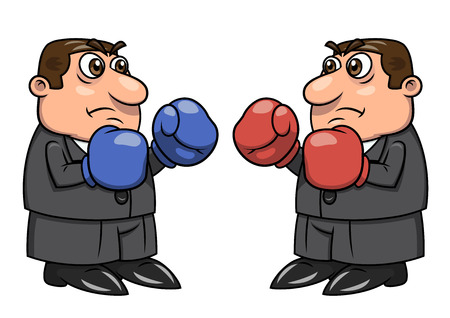 Illustration of two businessmen with boxing gloves going to fight