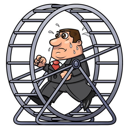 Illustration of the tired businessman running in a hamster wheel