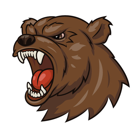 screaming head: Illustration of the angry bear head. White background. Vector