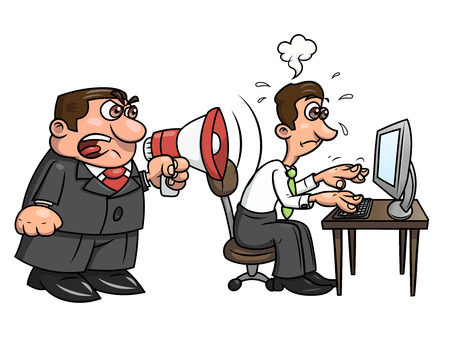 worried executive: Illustration of the angry boss yelling into megaphone at worker. White background. Vector Illustration